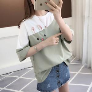 201夏季ins新款短袖T恤女学生韩版宽松原宿bf风白色上衣服打底衫