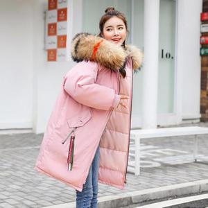 2019冬季新款女式棉服羽绒棉修身连帽棉衣中长款大码加厚棉衣棉袄