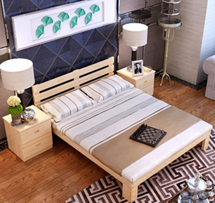 The modern minimalist furniture 2 special offer pine bed single bed double bed tatami bed 1.2 meters 1.5 meters 1.8 meters