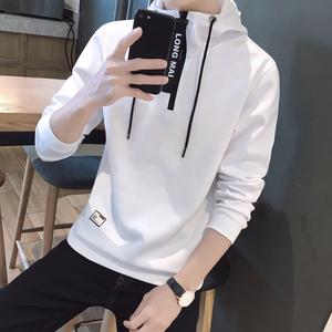 卫衣男秋季新款韩版宽松连帽上衣青年时尚撞色拉链套头长袖T恤潮