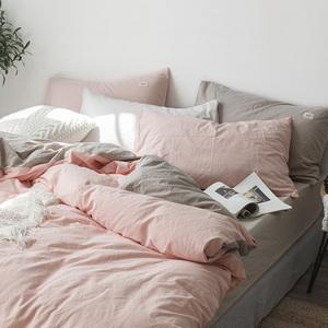 ins水洗棉四件套全棉纯棉简约少女心床上用品床单被套床笠三件套
