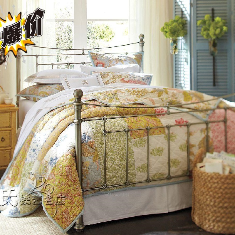 The simple double iron bed iron bed 1 meters 8 bed hotel metal Tieyi bed metal style iron bed