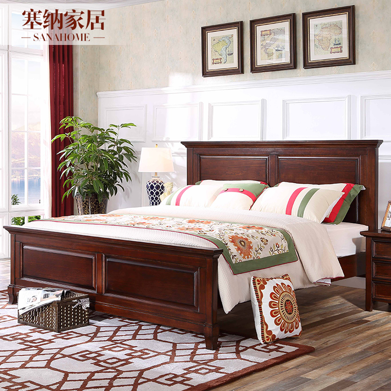 American style simple whole solid wood big bed, 1.8 meters country garden bedroom furniture, storage high box double bed 1.5
