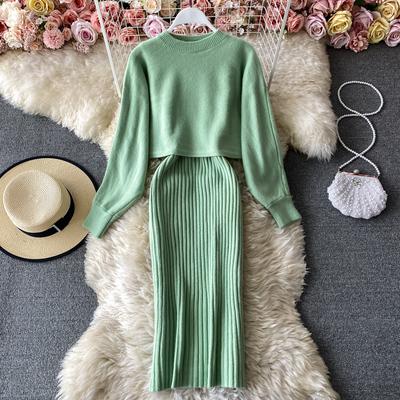 秋冬时尚气质半高领宽松蝙蝠袖毛衣罩衫两件套吊带V领包臀连衣裙