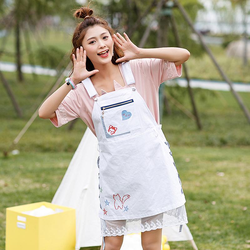 Váy/Dây đai quần yếm nữ kết hợp ren xòe rộng phong cách Hàn Quốc dễ kết hợp kiểu dáng rộng rãi phong cách ngọt ngào phong cách học sinh