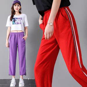 超火的紫色裤子女学生宽松韩版2018夏新款bf百搭初高中大童显瘦裤