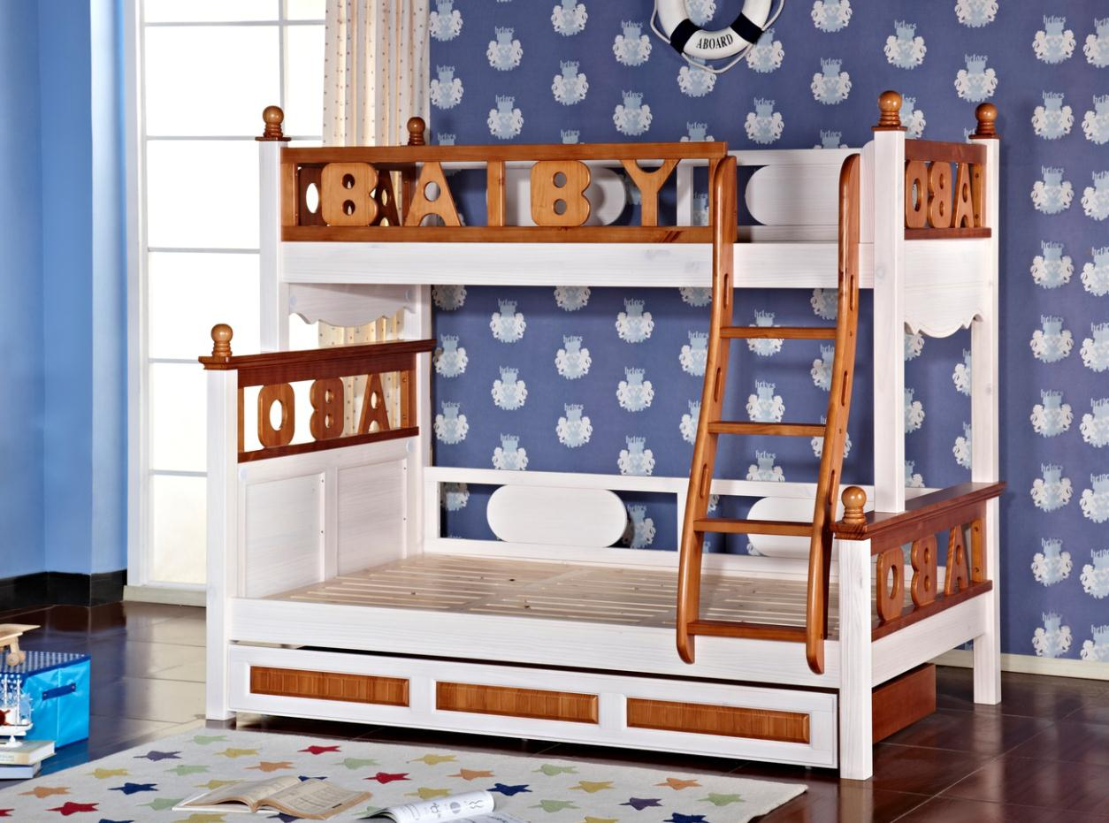 North American water paint children all solid wood 1 meters 2 double bed 1 meters 35 bed 1 meters 5 Tuochuang Changsha entity