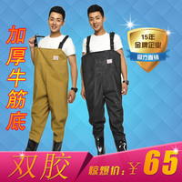 Thickened half length water pants, fishing pants, leather fork waterproof trousers, waterproof trousers, wading trousers, sewer pants, post bag