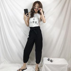 404实拍实价韩版时尚两件套修身背心+宽松高腰花苞束脚裤休闲裤