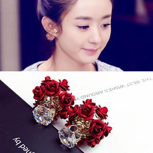 759#赵丽颖明星同款水晶锆石珍珠耳环花球耳钉气质韩国韩版耳饰品