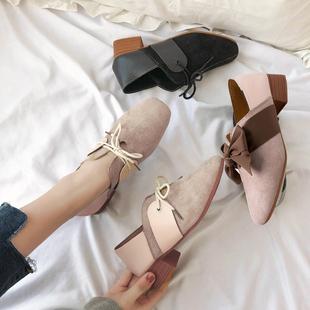 单鞋女韩版百搭新款英伦风蝴蝶结粗跟复古系带豆豆鞋瓢鞋休闲女鞋