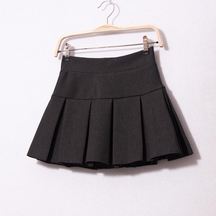 秋鼕新款彈力腰女裝打底裙包臀迷你超短裙內帶安全褲半身裙百褶裙