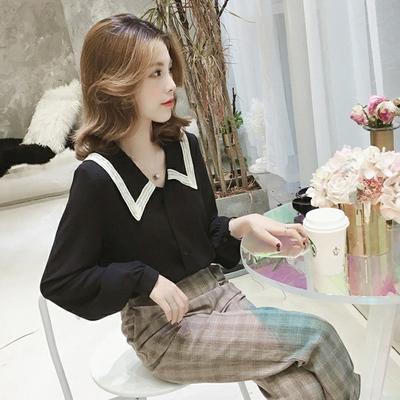 春新款韩版宽松心机设计感小众雪纺衬衫女上衣洋气很仙的衬衣847#