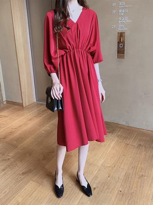 流行女装时尚气质红色雪纺连衣裙女中长收腰a字裙温柔裙858#