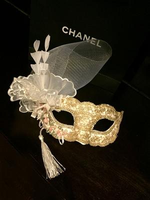 金色蕾丝时尚舞台万圣节舞会流苏羽毛假面派对面具高档 美女公主