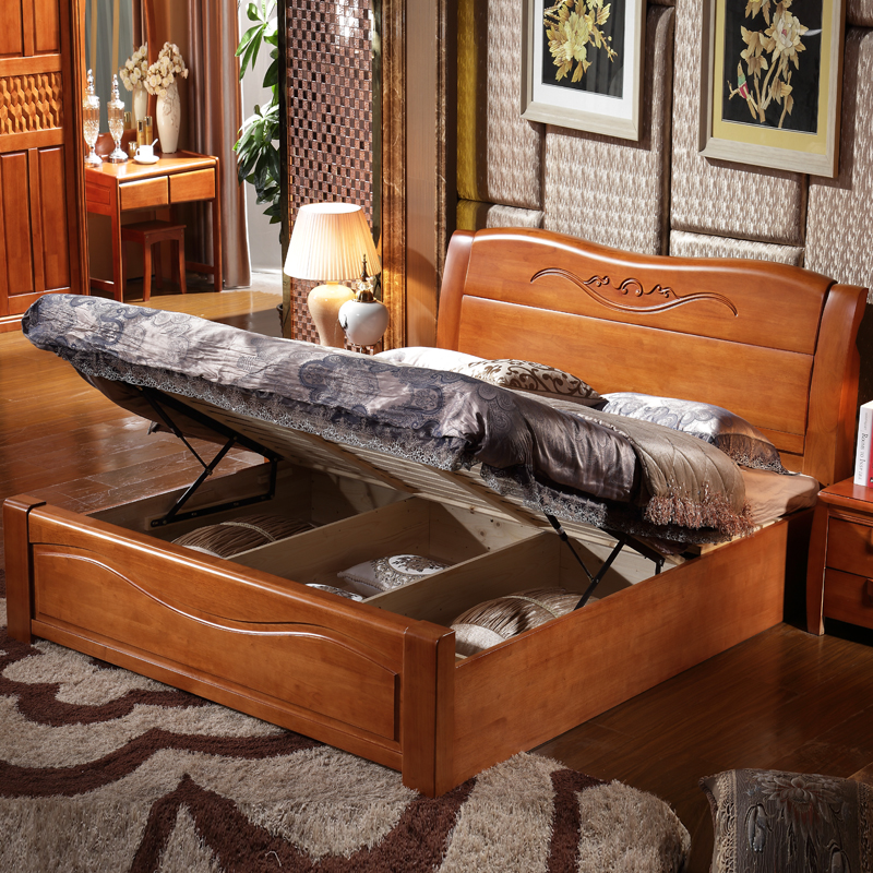 Solid wood bed, master bedroom, double bed, 1.8 meters economy, modern simple marriage bed, 1.5m Chinese high box storage big bed