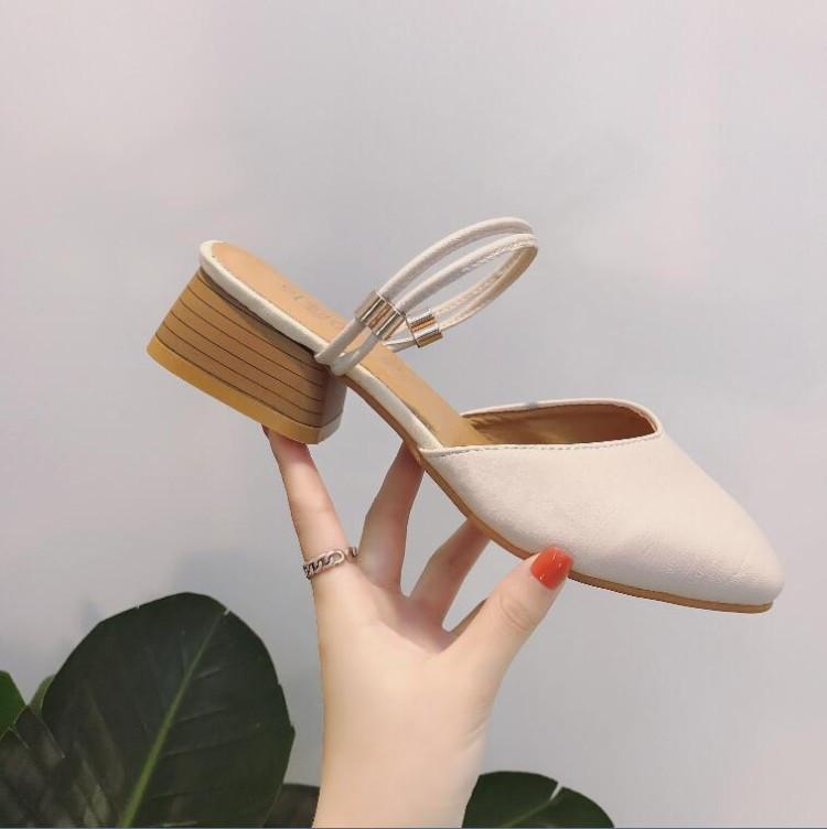 包頭涼鞋2017新款英倫復古文藝粗跟奶奶鞋水鑽中跟兩穿涼拖鞋女夏