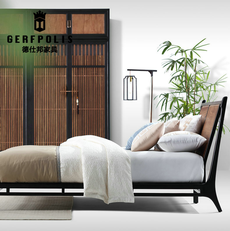 Modern new Chinese brand, solid wood furniture, rosewood, hedgehog, rosewood, double bed club, model room, bedroom furniture