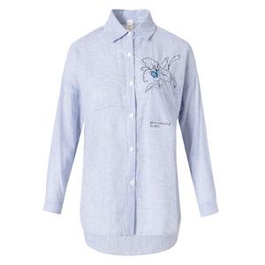 【2018新品】翻领单排扣长袖刺绣通勤衬衫810079