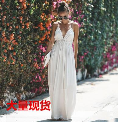 1305# 速卖通热卖新款 蕾丝花边吊带长裙