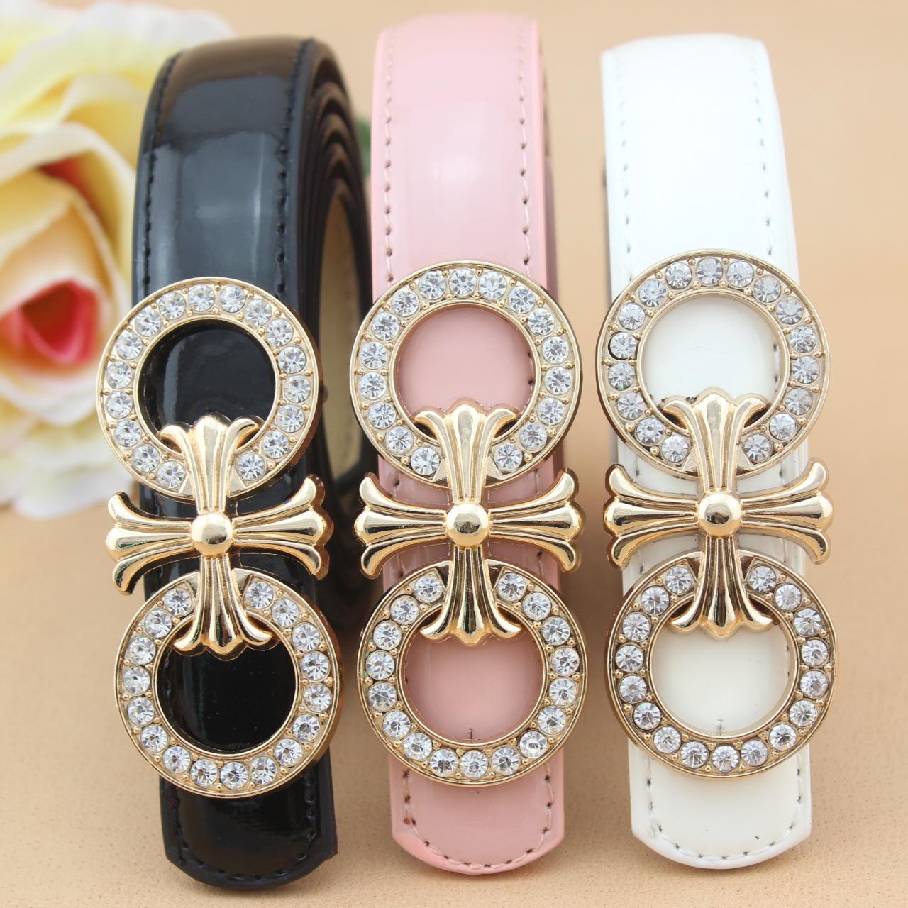 La Sra. Incrustaciones de diamante fino suave botón Coreano de ocho mujeres modelos de Decoración minimalista FAIRWHALE cinturón ancho cinturón de cuero