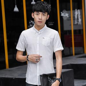 6835夏装新款短袖衬衫男 休闲男士衬衣 纯色纯棉衬衫