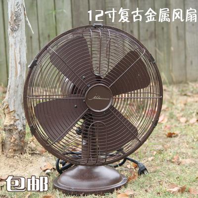 特价复古12寸金属机械摇头台式风扇家用铜电机怀旧铁艺仿古桌面扇