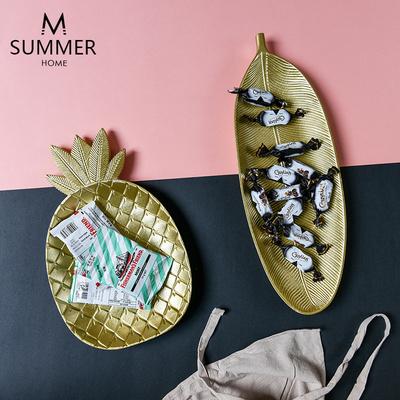 夏沐 北欧简约菠萝木质托盘零食糖果盘收纳篮餐厅桌面装饰收纳盘
