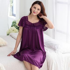 睡裙女夏季冰丝短袖薄款性感睡衣中年妈妈春秋大码宽松胖mm200斤