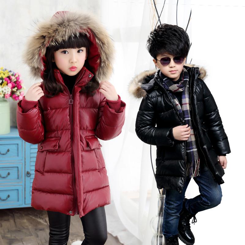 女童冬装棉衣外套男童加厚棉袄儿童PU皮中长款韩版宝宝羽绒棉服潮