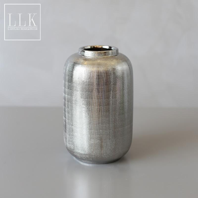 花瓶aladylike現代簡約陶瓷瓶插花創意電鍍銀色花瓶客廳桌面擺件