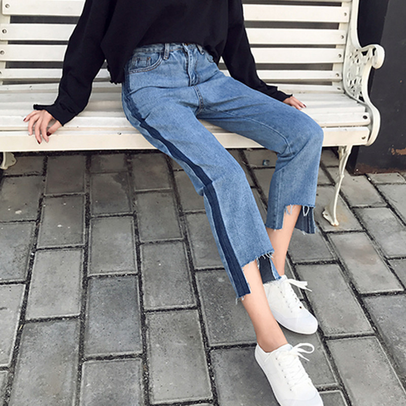 秋季新款韩版复古百搭拼色水洗裤脚不规则毛边高腰直筒牛仔裤潮女
