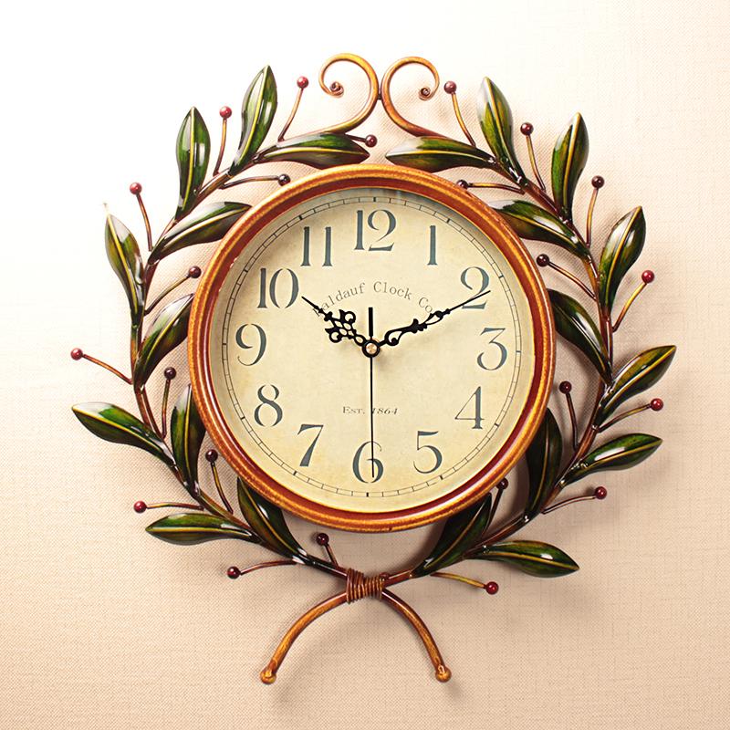 簡約清新款16英寸美式掛鐘客廳大號靜音鐘表家用田園復古創意掛表臥室個性電子時鐘