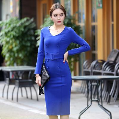 秋冬款高腰一步裙包臀裙OL气质修身职业连衣裙后开叉长裙V领长袖