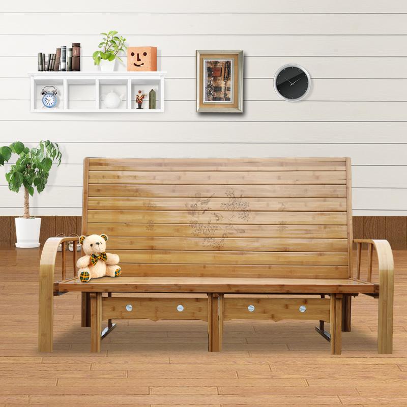 бамбук кровать, диван - Кровать двуспальная кровать 1.51.8 метров древесины односпальная кровать 1,2 метров двойного назначения многофункциональный диван - кровать для взрослых