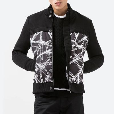 SS冬季商场在售新款 双层门襟设计 罗纹立领 时尚修身男厚实棉衣原单