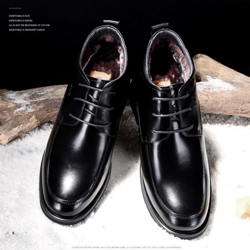 冬男士内高跟棉皮鞋保暖加毛结婚鞋黑色商务正装皮鞋高哥内增高鞋