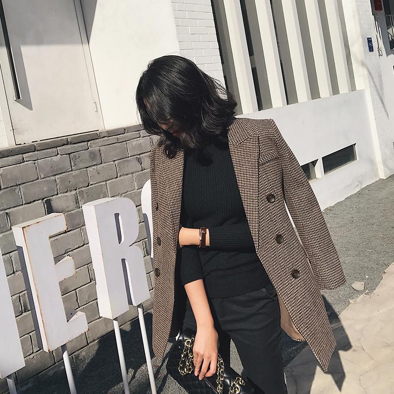 毛呢小西装女外套千鸟格2017秋冬新款修身加厚韩版中长款呢子西服