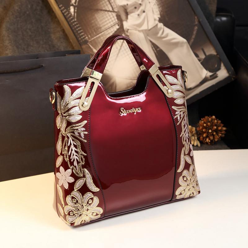 2017新款欧美时尚大包漆皮中年妈妈包包真皮女包单肩斜挎手提包潮