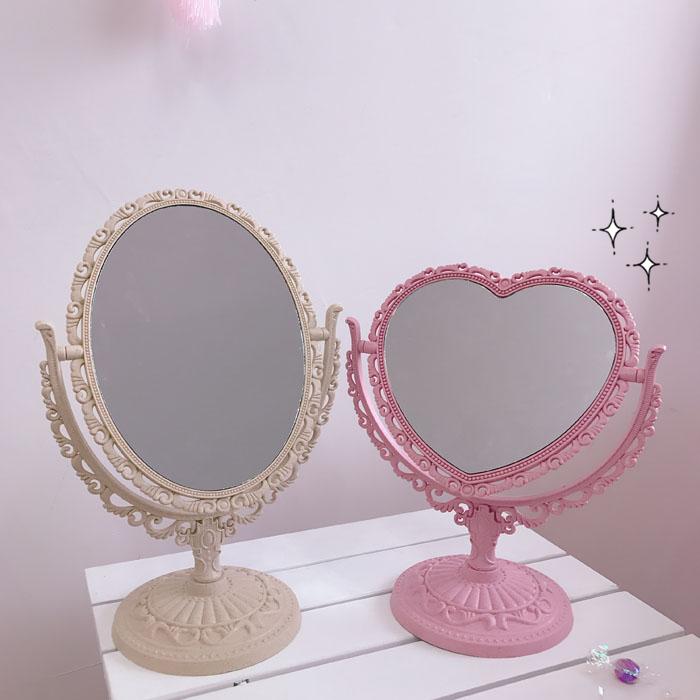 复古宫廷风爱心桌面台式化妆镜少女梦幻粉色心形旋转双面补妆镜子