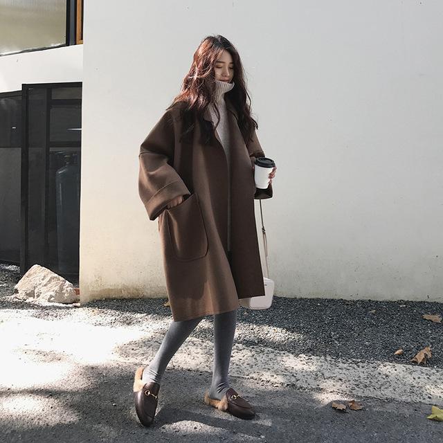 2018流行大衣女学生矮个子过膝斗篷赫本风双面毛呢外套薄款新款秋