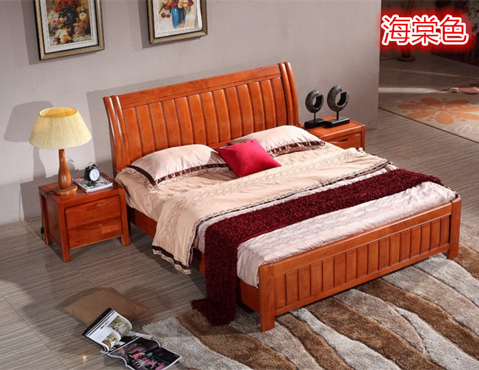 Enclosed all solid wood bed 1.8 meters 1.5 meters modern simple Chinese furniture oak bed single double European style bed