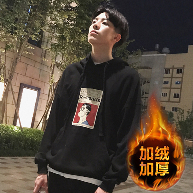韓版秋鼕季ulzzang男士寬松印花連帽衛衣套頭加絨加厚外套潮流bf