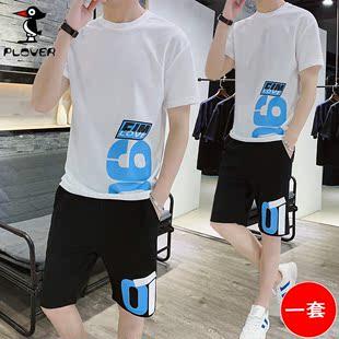 Plover两件套 夏季短袖t恤套装男士潮牌短袖2019新款潮流男装休闲