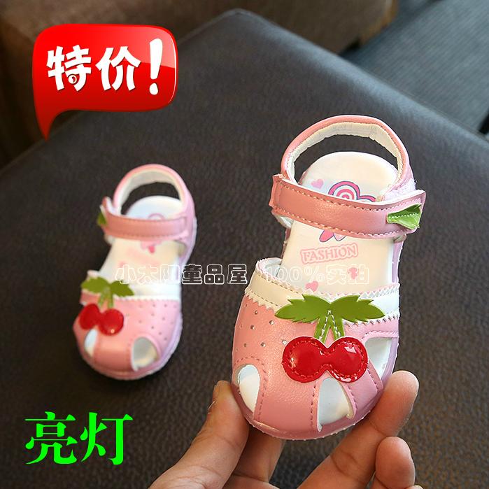 2017夏季女宝宝包头凉鞋1-2岁3婴幼儿软底防滑学步鞋子女童公主鞋