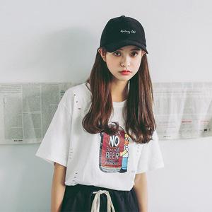 實拍 夏季新款 韓版 寬松大碼短袖T恤 印花破洞時尚T恤9688