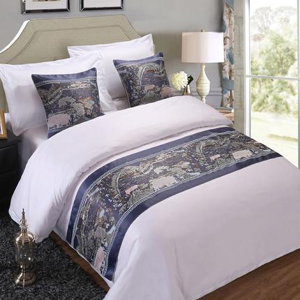 床旗床尾巾酒店宾馆高档 简约现代中式奢华金纯白床盖包邮