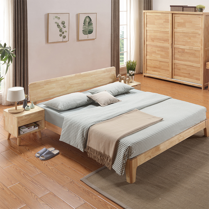 Nordic Japan all solid wood bed 1.81.5m double bed, modern minimalist master bedroom, oak furniture bed, small apartment