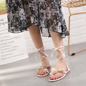 夏季2018新款平底舒适时尚珍珠水貂毛细带女款  688-6
