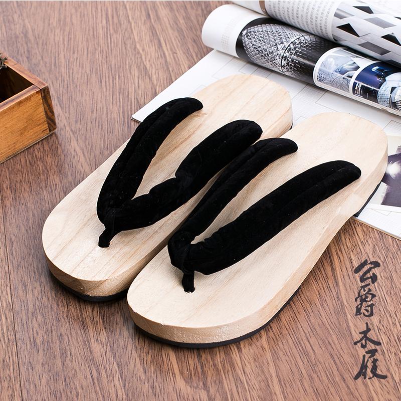 男女情侣款平跟木屐 拖鞋 凉拖 人字拖 实木凉鞋 cosplay